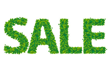 Sale Text With Leaves With Gradient Mesh, Vector Illustration Stock Vector - 22401796