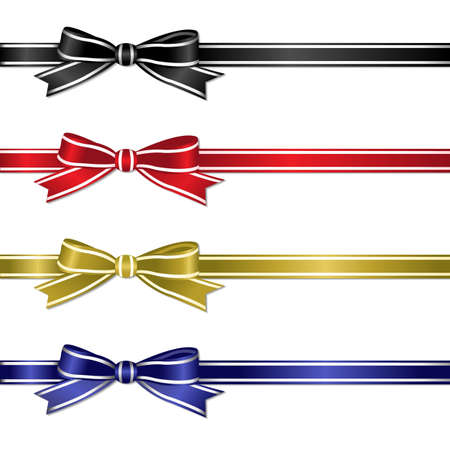 bow knot: Set From Color Ribbons, Vector Illustration
