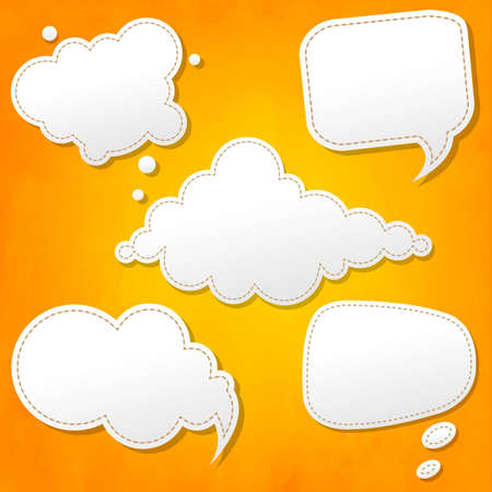Speech Bubbles Set And Orange Background With Gradient Mesh, Vector Illustration Stock Vector - 22401800