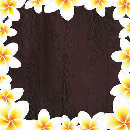 White Frangipani Frame With Wood Background, With Gradient Mesh, Vector Illustration Vector