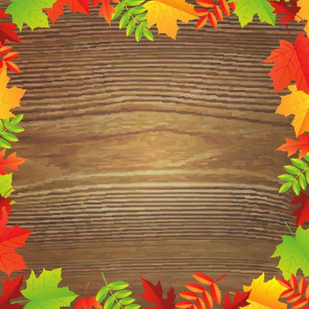 bordering: Color de oto�o Leafs marco, ilustraci�n vectorial