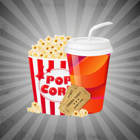 Grey Grungy Background With Popcorn, With Gradient Mesh, Vector Illustration Vector