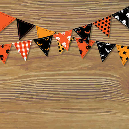 Halloween Bunting Flags With Wood Background, Vector Illustration