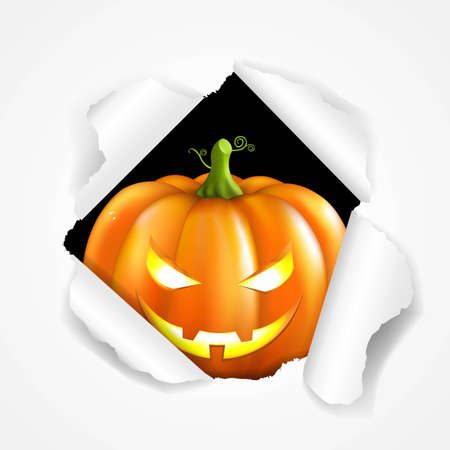 eye hole: Happy Halloween Poster, With Gradient Mesh, Vector Illustration