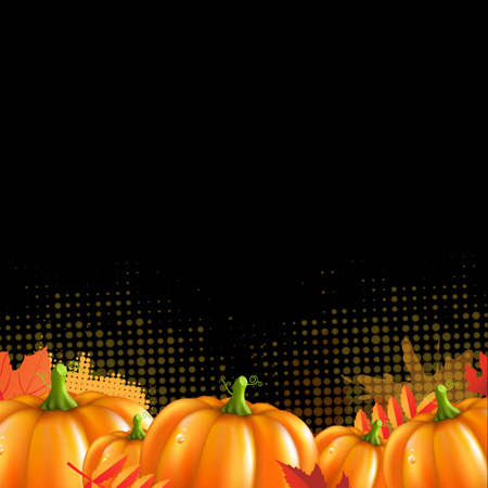 Orange Autumn Leafs And Pumpkins Frame, With Gradient Mesh, Vector Illustration Vector