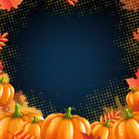 Orange Autumn Pumpkins Frame, With Gradient Mesh, Vector Illustration