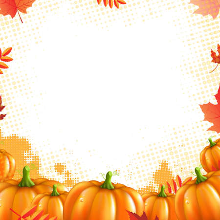 Orange Pumpkins Frame, With Gradient Mesh, Vector Illustration Vector