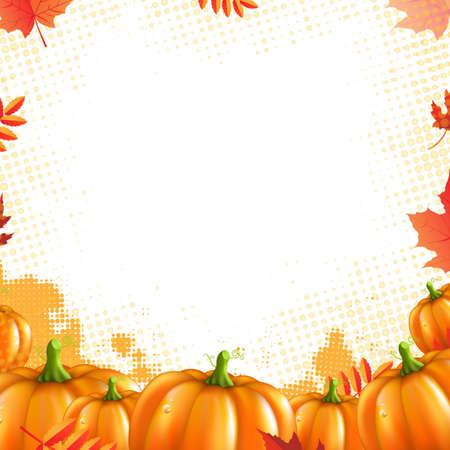 Orange Pumpkins Frame, With Gradient Mesh, Vector Illustration Vector