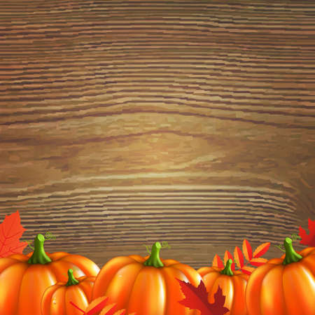 Red Autumn Leafs And Pumpkins Frame, With Gradient Mesh, Vector Illustration Illustration