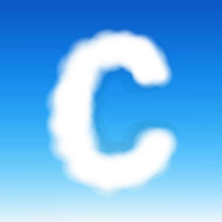 Cloud Letter C, With Gradient Mesh, Vector Illustration Vector