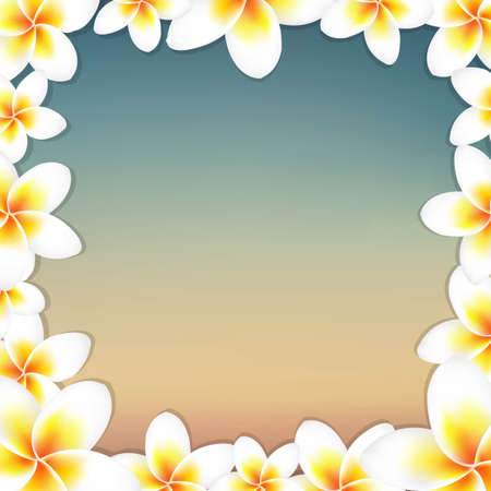 White Frangipani And Vintage Frame, With Gradient Mesh, Vector Illustration Stock Vector - 23473921