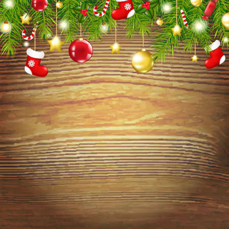 Xmas Wood Background With Xmas Toys, With Gradient Mesh, Vector Illustration Vector