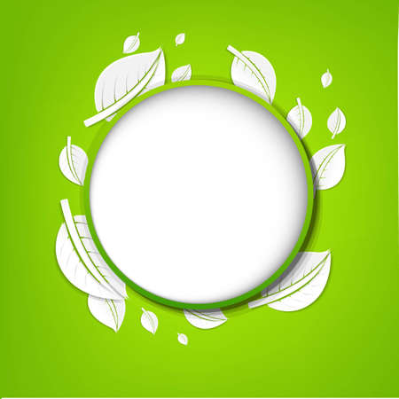 Abstract Green Leaves Banner, With Gradient Mesh, Vector Illustration  Vector