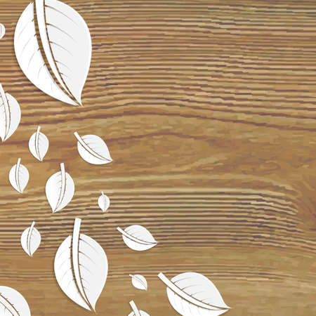 wooden vector mesh: Abstract Leaves Wooden Poster, With Gradient Mesh, Vector Illustration