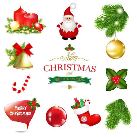 Christmas Big Set, With Gradient Mesh, Vector Illustration  Vector