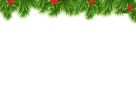 Christmas Green Framework With Holly Berry, With Gradient Mesh, Vector Illustration Stock Vector - 24545924