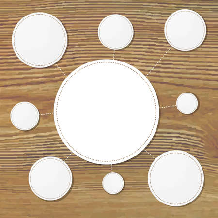 wooden vector mesh: Paper Speech Bubbles With Wooden Background, With Gradient Mesh, Vector Illustration