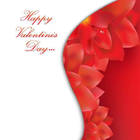 Happy Valentines Day Card With Red Flowers, With Gradient Mesh, Vector Illustration Vector