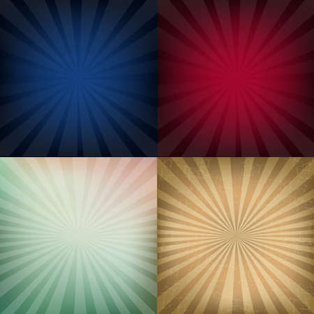4 Grunge Vintage Sunburst Backgrounds, With Gradient Mesh, Vector Illustration
