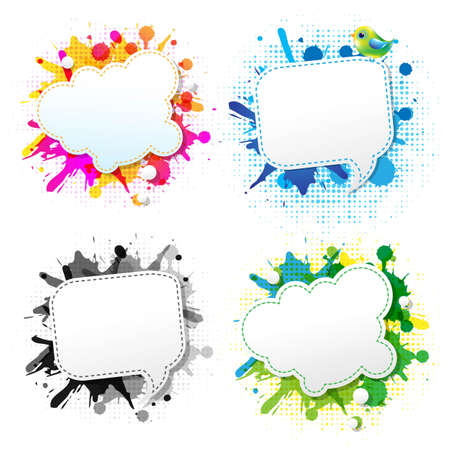 Colorful Grunge Poster With Abstract Speech Bubbles, With Gradient Mesh, Vector Illustration