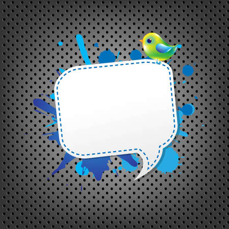 Metal Background With Speech Bubble And Bird, With Gradient Mesh, Vector Illustration Vector