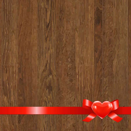 felicitation: Wooden Panel With Red Ribbon, With Gradient Mesh,  Illustration Illustration