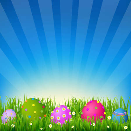 Blue Sky With Grass Easter Card, With Gradient Mesh, Vector Illustration  イラスト・ベクター素材