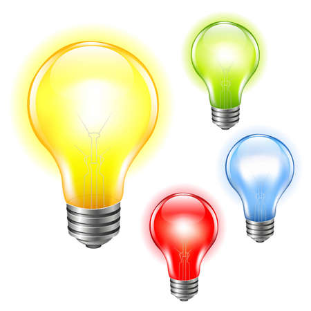 edison: 4 Color Bulbs Set, With Gradient Mesh, Vector Illustration