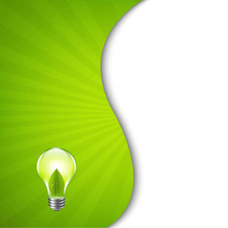 Green Burst Poster With Bulb, With Gradient Mesh, Vector Illustration Vector