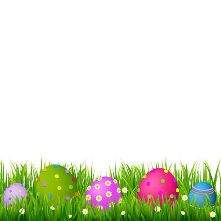 egg plant: Border With Grass And Eggs Easter Card, With Gradient Mesh, Vector Illustration