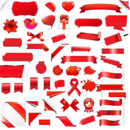 Big Set Red Elements, With Gradient Mesh, Vector Illustration Vector