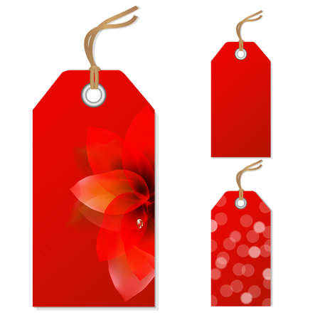 Red Sale Tags Set, Vector Illustration Vector