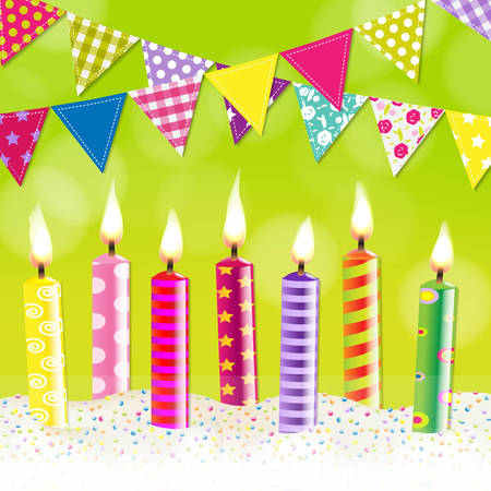 childrens birthday party: Candles Bunting Garland, With Gradient Mesh, Vector Illustration