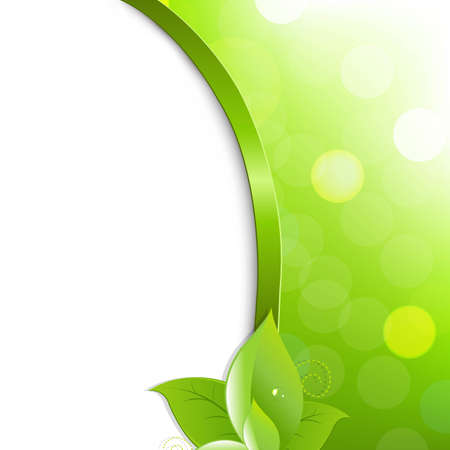 Green Eco Poster With Leaves, With Gradient Mesh, Vector Illustration Vector