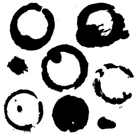 faience: Black Coffee Stains Set, Vector Illustration