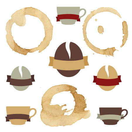 faience: Coffee Stains With Symbols Set, Vector Illustration