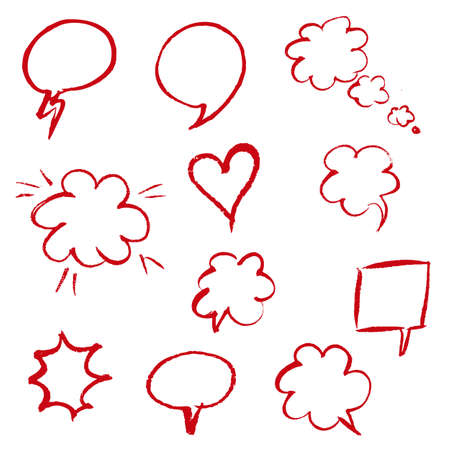 Red Hand Draw Speech Bubble, Vector Illustration Vector