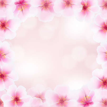early spring: Cherry Flower Frame With Blurred Background, With Gradient Mesh Illustration