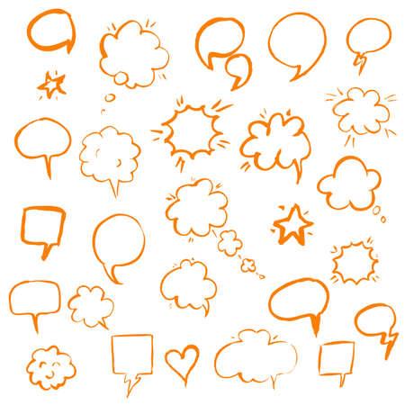 talk balloon: Orange Hand Draw Speech Bubble Illustration