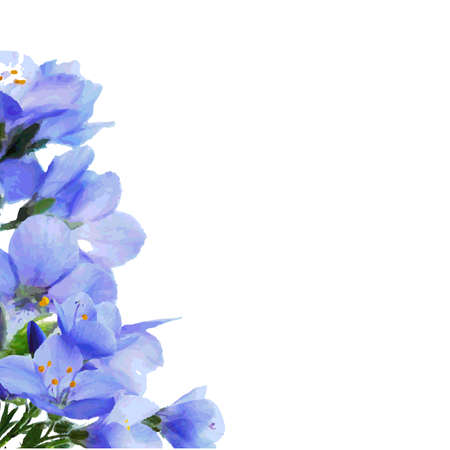 hand wash: Blue Flowers Border Illustration