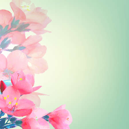 Pink Flowers, With Gradient Mesh Illustration Vector