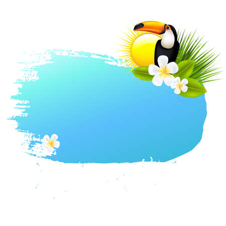 subtropical: Summer Banner Blots For Design, With Gradient Mesh, Vector Illustration