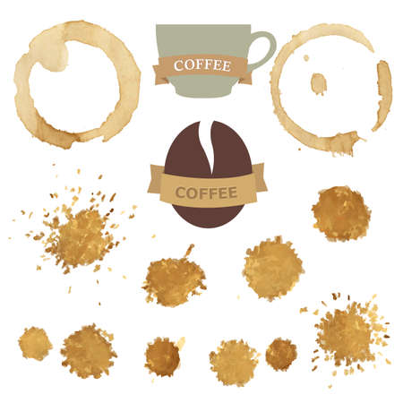 coffee stain: Coffee Stains With Symbols Set, Vector Illustration