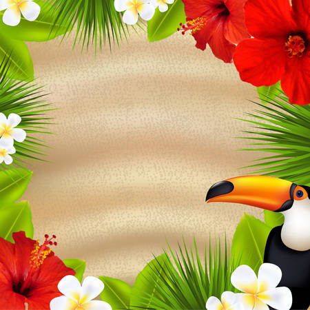 Tropical Banner, With Gradient Mesh, Vector Illustration Vector