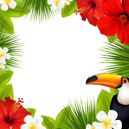 Tropical Frame, With Gradient Mesh, Vector Illustration