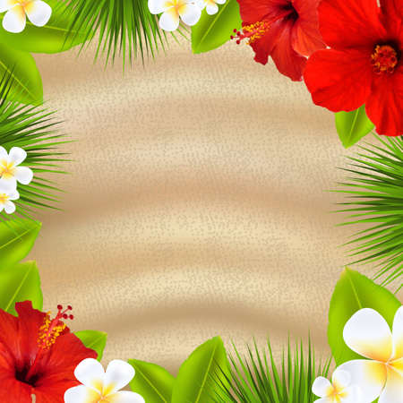 Tropical Poster With Flowers, With Gradient Mesh, Vector Illustration