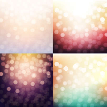 bokeh: 4 Blurred Backgrounds Set, With Gradient Mesh, Vector Illustration Illustration