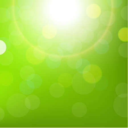 Green Sun Background With Bokeh, With Gradient Mesh, Vector Illustration