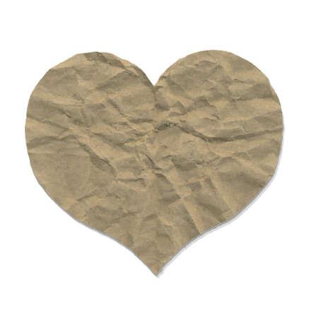 squashed: Paper Heart, Vector Illustration Illustration
