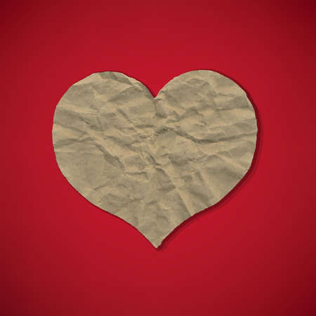 squashed: Red Paper With Heart, With Gradient Mesh, Vector Illustration